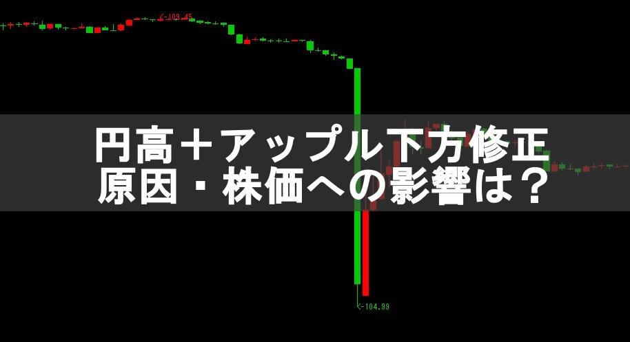 ドル円104円の円高急騰。アップル下方修正による株価への影響
